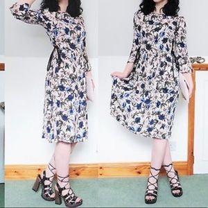 TOPSHOP Floral Midi Dress - Size 4